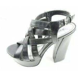 Bamboo Womens Platform Black High Heels Size 8.5